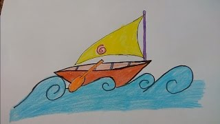 Draw beautiful ship from alphabet Z step by step for kids
