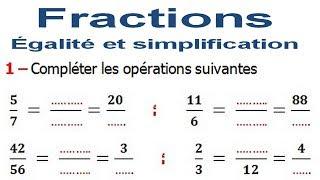 Maths 6ème - Fractions égalité et simplification Exercice 4