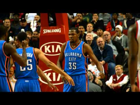 kevin - Check out Russell Westbrook finding Kevin Durant on the outlet for the dunk plus the foul at 120 frames per second. Visit nba.com/video for more highlights. ...
