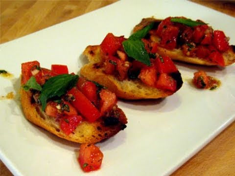 Bruschetta with Tomato & Basil Recipe - Laura Vitale