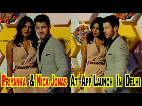 Priyanka And Nick Jonas At App Launch In Delhi