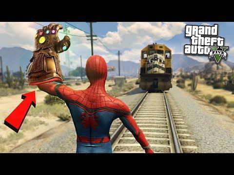 SPIDERMAN DESTROYS TRAIN w/ INFINITY - GTA 5 Mods (видео)
