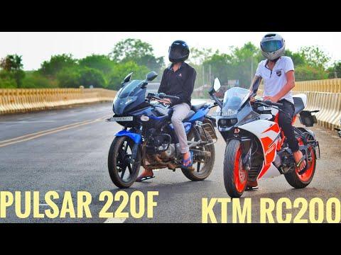 Video KTM RC 200 vs BAJAJ PULSAR 220F   Drag Race and exhaust note  walkaround.. download in MP3, 3GP, MP4, WEBM, AVI, FLV January 2017