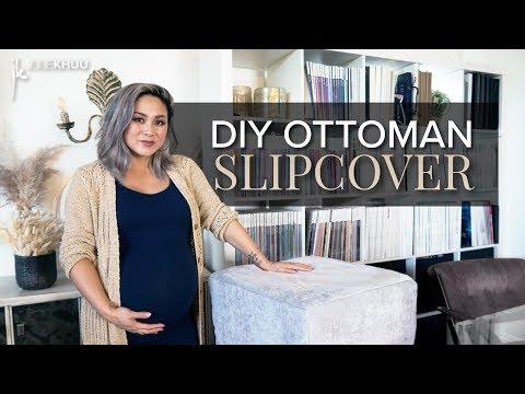 DIY FURNITURE FLIP | Slipcover an Old Ottoman | Julie Khuu