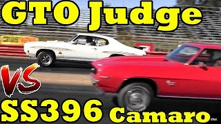 Which is FASTER ?? 70 GTO Judge or 69 SS396 Camaro - 1/4 Mile Drag Race - Pontiac vs Chevy by Road Test TV