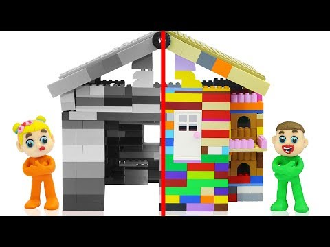 SUPERHERO BABY BUILDS LEGO PLAYHOUSE 💖 Cartoons Play Doh Stop Motion