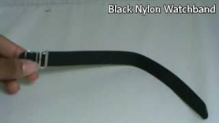 Nylon Watchband-Black-18mm