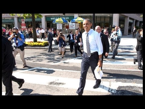 Washington - President Obama walks from the White House to a popular sandwich shop in DC to get lunch with Vice President Joe Biden. Subscribe to The Daily Conversation h...