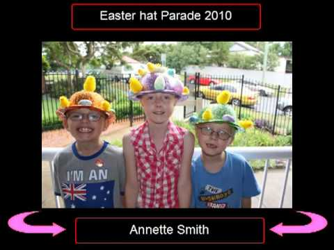 easter hat parade with lots of funny hats