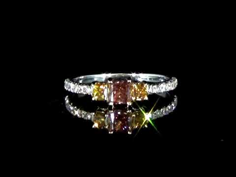 GIA Certified 0.27ct Fancy Deep Orangy Pink Diamond Ring