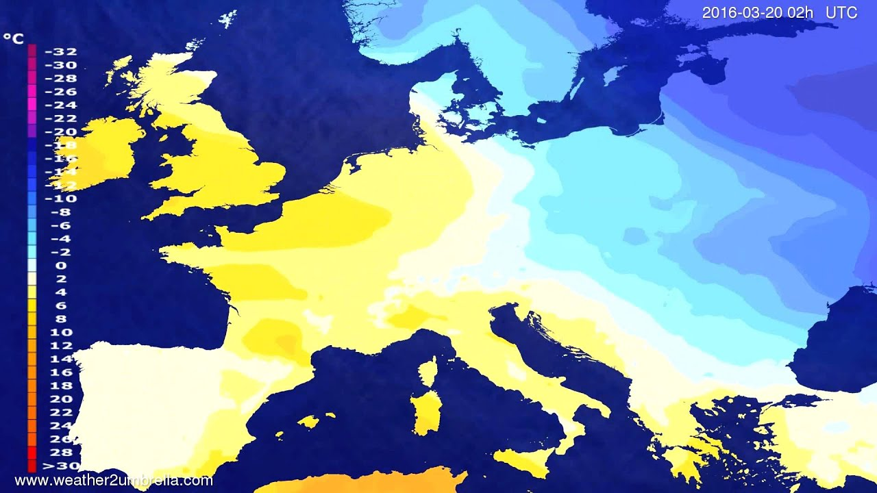 Temperature forecast Europe 2016-03-16
