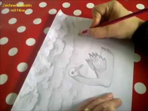 Einen Schwan im Wasser malen. Wolken und Wasser mit Bleistift zeichnen