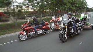 9. Bikes Towing Bikes! Honda Gold Wing & CRF250X vs. Kawasaki Vulcan Voyager & KX250F | ON TWO WHEELS
