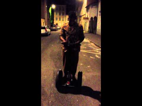 Tosin Abasi riding a Segway (Animals As Leaders)