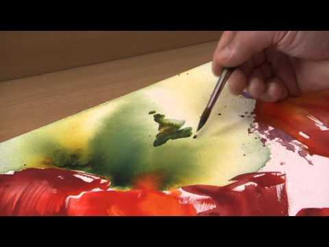 Aquarellmalerei auf Leinwand: Blumen