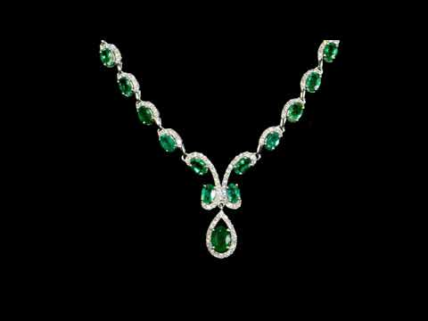 14k White Gold 18ct (TW) Emerald and Diamond Necklace