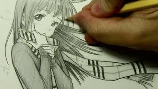 Girl with Scarf: Drawing Time Lapse