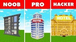 Noob vs. Pro vs. Hacker : GIANT LUXURY HOTEL BUILD CHALLENGE! In Minecraft Animation