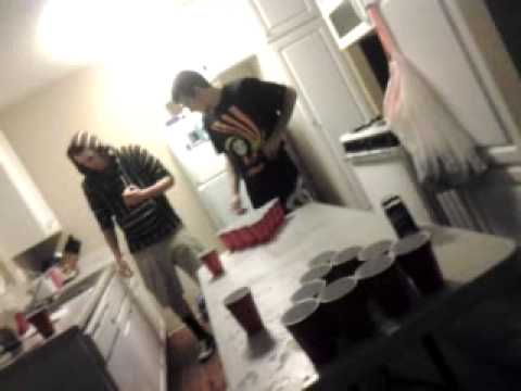 Funny dancing beer pong game.