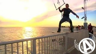 Adventures With Aviator - SUPER CHILL Sunset Kiteboard Rail Riding (in Tampa Bay)