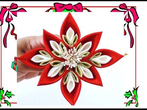 fiore realizzato con la tecnica kanzashi