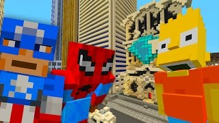 Bart Meets Captain America And Spiderman | The Simpsons | Minecraft Xbox [68]