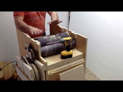 "Wooden Tool Man's ""Drum Sander 14"" making adjustments"