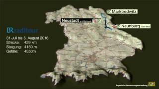 Sämtliche Etappen der BR-Radltour 2016 auf einer Karte.