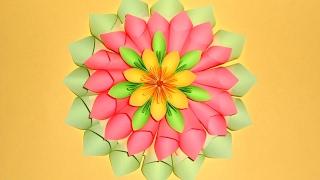 Большие цветы из бумаги.Поделки оригами на 8 марта