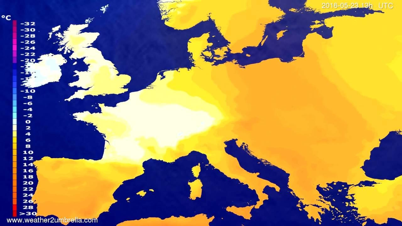 Temperature forecast Europe 2016-05-20