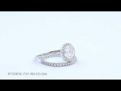 Halo Diamond Moissanite Bridal Set in White Gold Pave Band