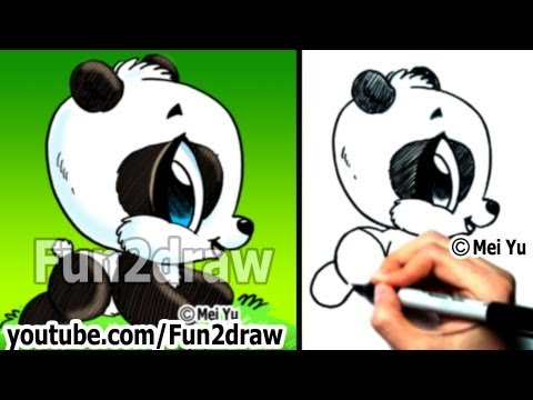 Easy Things to Draw - Drawing Tutorials - How to Draw a Panda - Draw Animals - Fun2draw