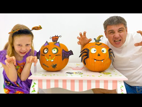 Nastya tries on Halloween costumes in the store with her dad