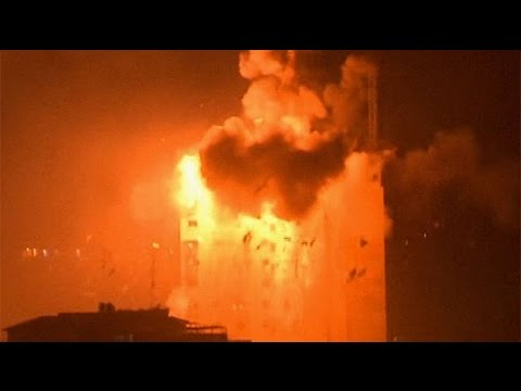 Israel - Massive explosions as an Israeli air strike pounds a media building housing Hamas's Al-Aqsa TV channel in the centre of Gaza City An Israeli air strike hit a media building housing Hamas's...