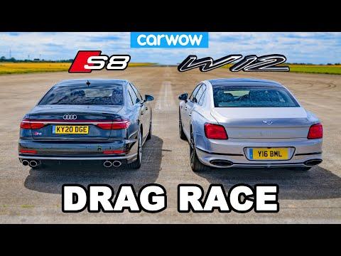 Audi S8 vs Bentley Flying Spur - DRAG RACE *V8 vs W12*