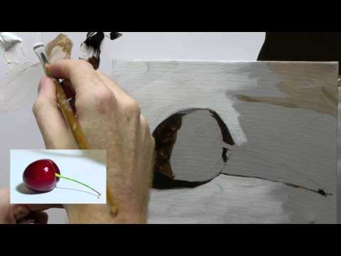 painting cherries - http://www.willkempartschool.com How to paint an acrylic still life painting, step-by-step free video series with professional artist Will Kemp. Part 2a Clic...