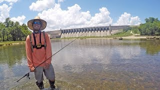 Fishing for bass with lunkerstv under a giant lake dam before the generators turn on and the water comes out. SUBSCRIBE - https://www.youtube.com/lakeforkuyWATCH MORE FISHING - https://www.youtube.com/playlist?list=PLF43D57E0A9B443B3Rod and Reel - Favorite Phantom Spinning 6'Mhttp://bit.ly/PHANTOMRODTrapper Hook I Used - http://go.magik.ly/ml/5tom/Drone Used - DJI Mavic Pro (Fly More) - https://goo.gl/3D8zC2GET OFFICIAL FISHING FREAK GEAR HEREhttp://bit.ly/LFGMERCHLISTEN TO THE PODCASThttp://bit.ly/HOOK-ARROWINSTAGRAM https://www.instagram.com/lakeforkguySNAPCHAT - LakeForkGuyFACEBOOK https://www.facebook.com/lakeforkguyMail me stuff that won't kill me : )Justin RackleyPO Box 280Wellborn, TX 77881ABOUT LFGJustin Rackley, known as Lakeforkguy in the fishing world, creates fishing and outdoor videos on youtube and other social platforms.  LFG provides fishing tips and techniques for mostly largemouth bass fisheries but also travels to other freshwater and saltwater fishing spots to explore new fish species and fishing techniques to help you catch more fish.  Lakeforkguy likes to hang out on any fishing vessel or go bank fishing with his other YouTube Fishing friends and vlog with his Wife Stephanie AKA Ocean Spoon Girl and french bulldog Winston.------------------------------------VIDEO CREATION GEAR--------------------------------------CAMERASDSLR Camera (Panasonic GH5) - http://go.magik.ly/ml/5tf5/Metabones Speedbooster 4/3 EF Mount - http://go.magik.ly/ml/5tf7/Chesty Cam (Gopro Hero 4 Black) - https://goo.gl/GaZfjVUnderwater Shots (Gopro Hero 5) - https://goo.gl/efzJmMCAMERA GOPRO MOUNTS FOR FISHINGEssential Chesty Mount - https://goo.gl/kAyLtgBEST Suction Cup RAM Mount - https://goo.gl/sVtZCNClamp mount for rails, rods, and vehicles - https://goo.gl/LH2jQHCASES and PACKSCheap Gopro Tavel Case - https://goo.gl/jR5WvWCase for my DSLRs on the boat & traveling - https://goo.gl/EMwzBEFavorite all in one film pack - http://go.magik.ly/ml/5tfg/LENSESOverall best fishing lens (Canon 24-105mm) http://go.magik.ly/ml/5tfl/SAVE AROUND $300 with White Box Version - https://goo.gl/voMNBZMy Vlogging Lens (Rokinon 14mm WIDE) - http://go.magik.ly/ml/5tfm/My ULTIMATE Mid Range Lens $$$ - http://go.magik.ly/ml/5tfn/AUDIOCHEAP but GOOD Gopro Mic -  https://goo.gl/gHrKqJWireless Mics for Clean Audio in WIND - http://go.magik.ly/ml/5tfo/BEST Camera Mic for the Money - https://goo.gl/wk1UTu