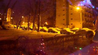 GOPRO TIMELAPSE FIRST SNOW WARSAW 20120113