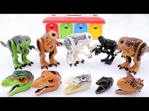Toy Dinosaurs for Kids! Jurassic World Dinosaur Lego Toys. Indominus Rex Indoraptor Triceratops