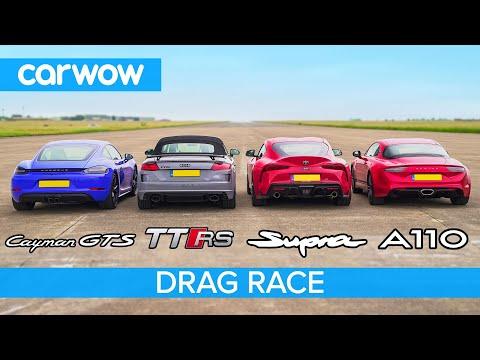 Supra vs Cayman GTS vs TT RS vs Alpine A110 - DRAG RACE, ROLLING RACE & BRAKE TEST