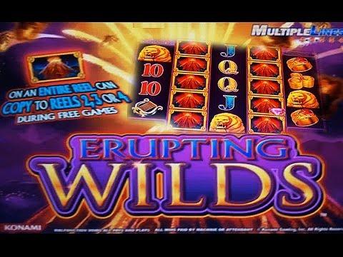 Konami - Erupting Wilds - RETRIGGERS!!! - Slot Machine Bonus