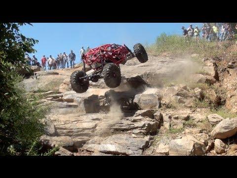 Off-roader Tim Cameron gets some huge air during rock crawl