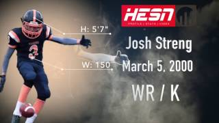Josh Streng (WR/K/P) Class 2018 - '16 Highlight Video