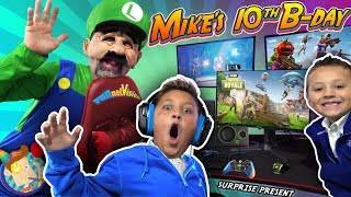Video MIKE'S BIRTHDAY SURPRISE from MARIO BROS!  New Gaming Setup! (FUNnel Fam Luigi Vision) MP3, 3GP, MP4, WEBM, AVI, FLV September 2019