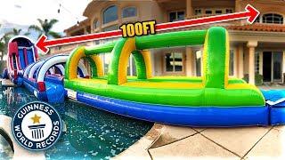*WORLD RECORD* LONGEST BACKYARD SLIP 'N SLIDE EVER!! (100+ ft)