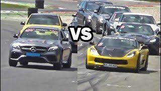 *** If you only want to see the THUMBNAIL RACE (2017 E63 S vs. Corvette C7 Z06) : Skip to 01:33 ***Multiple supercar drivers joined the street legal dragraces (just for fun) to find out who's the fastest in a straight line. This took place during the 2017 Vredestein Supercar Sunday at the TT race track in Assen (The Netherlands).================================================================================================================1) First run:Chevrolet Corvette C7 Grand Sportvs.Porsche 911 Turbo S (991) w/ Akrapovic exhaust--------------------------------------------------------------------------------------------------------------------------------------------------------------------------------------------------------------------------------2) Second run:Porsche 911 Turbo S (991) w/ Akrapovic exhaustvs.Dodge Challenger SRT Hellcat--------------------------------------------------------------------------------------------------------------------------------------------------------------------------------------------------------------------------------3) Third run:Dodge Challenger SRT Hellcatvs.Lamborghini Aventador LP700-4 w/ Capristo exhaust system--------------------------------------------------------------------------------------------------------------------------------------------------------------------------------------------------------------------------------4) Fourth run:Porsche 911 Turbo S (991) w/ Akrapovic exhaustvs.Mercedes-Benz C63s AMG (Sedan)--------------------------------------------------------------------------------------------------------------------------------------------------------------------------------------------------------------------------------5) Fifth run:Mercedes-Benz S55 AMG (W220)vs.2017 Mercedes-Benz E63s AMG-------------------------------------------------------------------------------------------------------------------------------------------------------------------------------------------------------------------