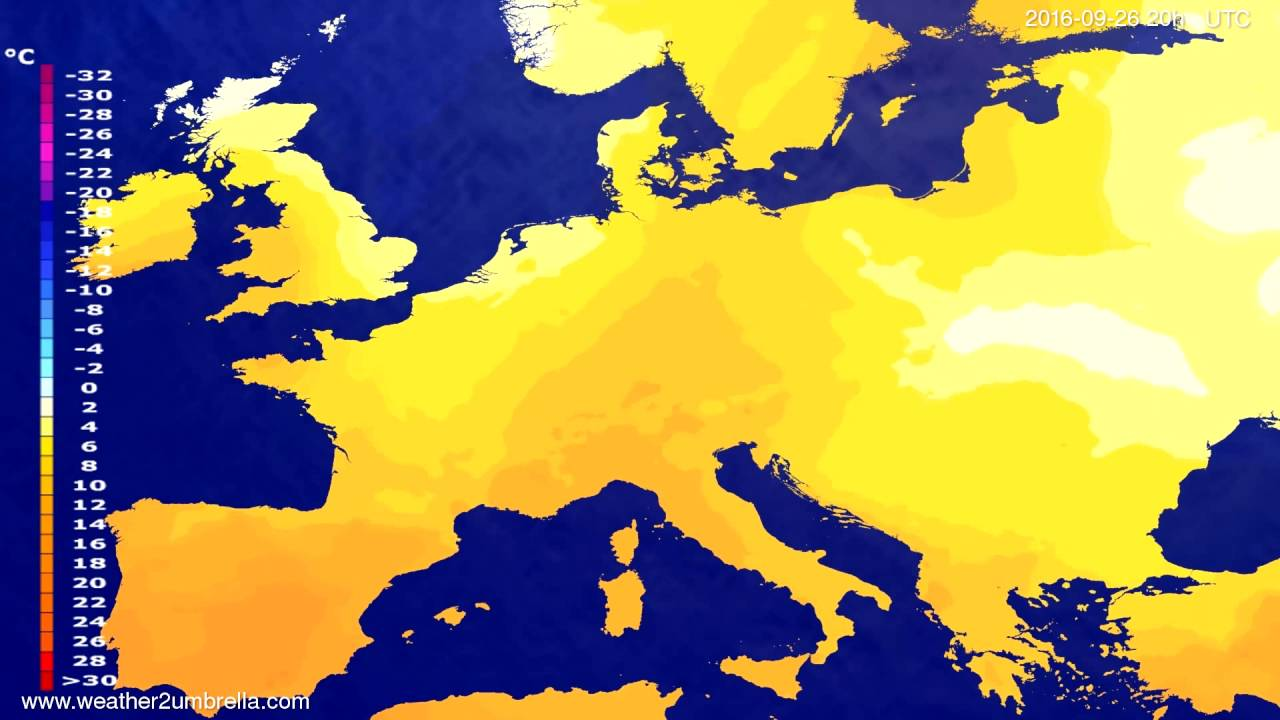 Temperature forecast Europe 2016-09-24