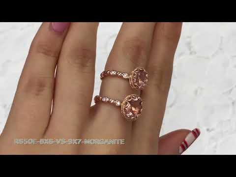 8X6 vs. 9X7 Floral Oval Morganite Ring in Rose Gold Pebble Diamond Band