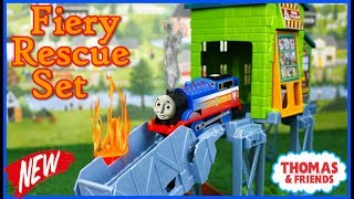 THOMAS AND FRIENDS TRACKMASTER FIERY RESCUE SET  with Real Steam Thomas The Tank Toy Trains for Kids