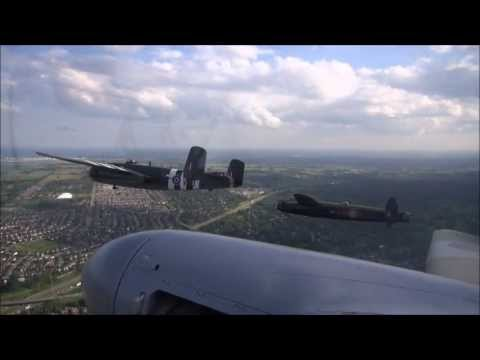 Lancaster - Video taken from the worlds only flying Mosquito of the CWH Lancaster led formation at the 2013 Canadian Warplane Heritage Museum Airshow. Includes Spitfire,...